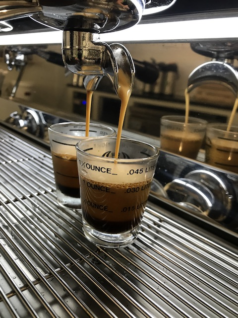 Espresso shots at Crown Street Roasting Company