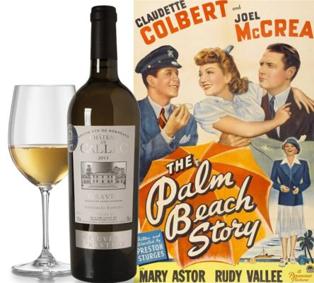 glass and bottle of wine next to movie poster from TCM wine club