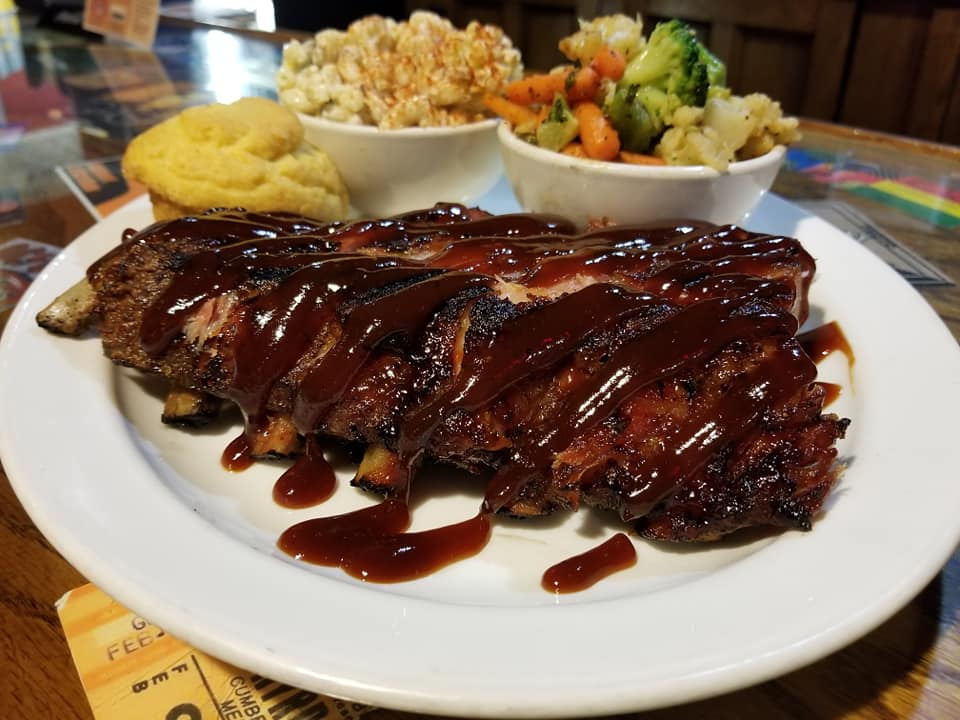 BBQ ribs plated