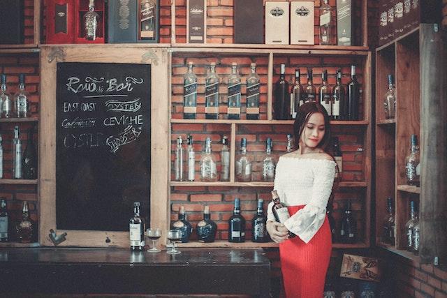 woman in wine shop