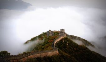 wall of China in the mist on a hill