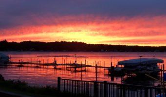 sunset in Bemus Point NY