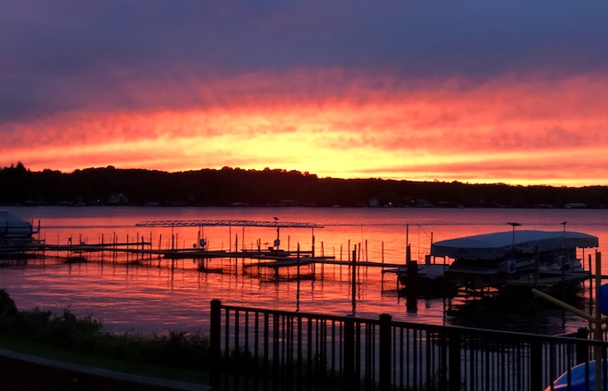 sunset in Bemus Point NY